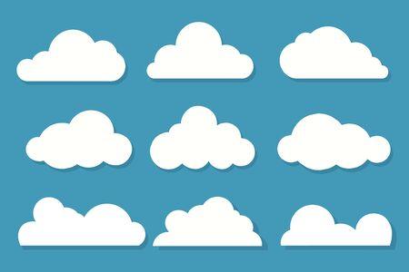 White clouds flat design set on blue sky background. Vector illustration Vektorgrafik