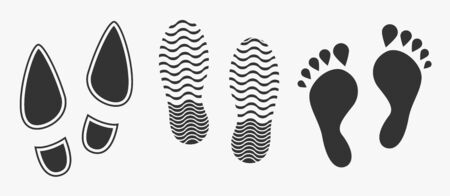 Black unique human footprints isolated on white. Vector illustration