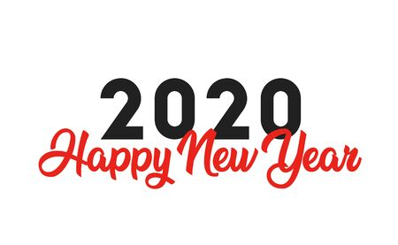 Happy New Year 2020 logo text design. Brochure design template, card, banner. Isolated on white background. Vector illustration