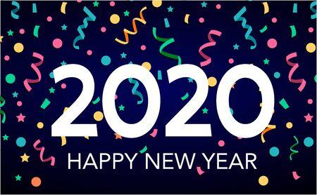 Happy New Year 2020 greeting card text design. Brochure design template, card, banner. Isolated on white background.