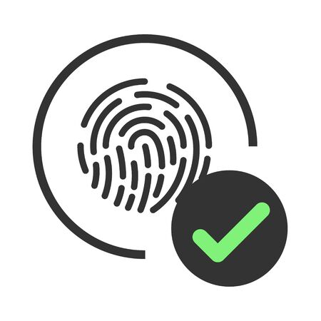 Digital touch scan identification of electronic sensor authentication. Fingerprint accepted icon. ID icon. Fingerprint scanning. Biometric access control.
