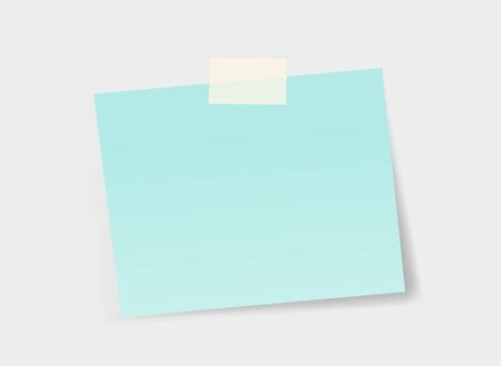 Blue office sticker sticked to the wall with a duck tape. Vector illustration  Ilustrace