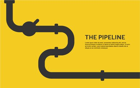 Web banner template. Industrial background with yellow pipeline. Oil, water or gas pipeline with fittings and valves. Vector illustration in a flat style.