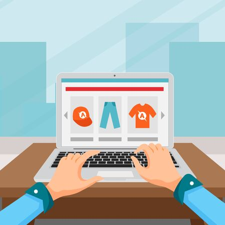 Person choosing to buy a product online. Vector Illustration Illustration