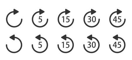 Icona di riproduzione per il controllo dell'applicazione e del Web o del lettore multimediale. Ripeti 5, 15, 30, 45 secondi icona vettoriale semplice. Riproduci le icone.