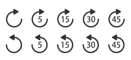 Replay icon for application and web or Media player control. Repeat 5, 15, 30, 45 seconds simple vector icon. Replay icons. Illustration