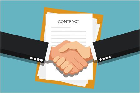 Conclusion of the contract. Handshake. Two hands doing a handshake, business concept. Vector image