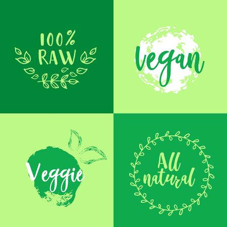 Vegan and healthy food oriented banner on the green background. Vector illustration