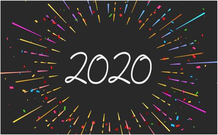 Happy 2020 new year fireworks banner on black background for your seasonal holiday flyers, Christmas themed congratulations and cards. Vector illustration.