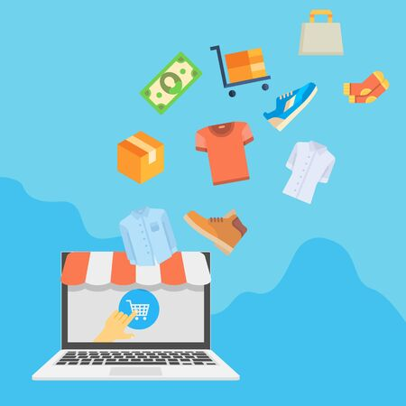 Online shopping concept with laptop and goods flying into it. Vector illustration