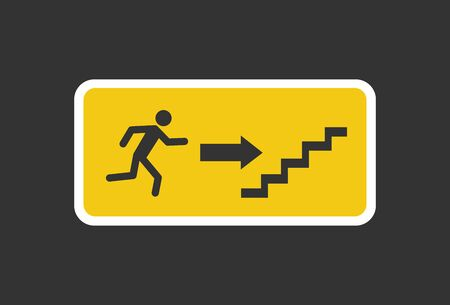 Exit sign. Emergency fire Exit sign. Man figure running to doorway. Running man icon to door. Fire exit sign