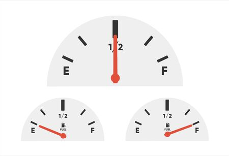 Gas tank gauge. Set of Fuel gauge scales. Fuel meter. Fuel indicator. Oil level tank bar meter. Collection Fuel gauge meter on a white background Ilustrace