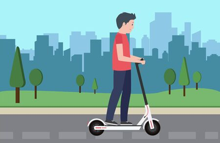 Young male character ride modern urban transport electric kick scooter. Active hipster adult millennial uses lifestyle ecology technologies. Vector illustration youth on cityscape