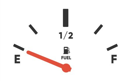 Fuel gauge scales. Fuel meter. Fuel indicator. Gas tank gauge. Oil level tank bar meter. Collection Fuel gauge speedometer on a white background Ilustrace