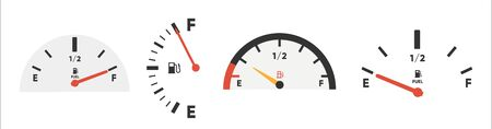 Set of Fuel gauge scales. Fuel meter. Fuel indicator. Gas tank gauge. Oil level tank bar meter. Collection Fuel gauge speedometer isolated on a white background