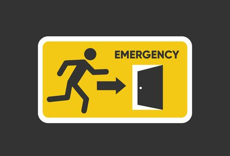 Emergency fire Exit sign. Man figure running to doorway. Running man icon to door. Fire exit sign. Illusztráció