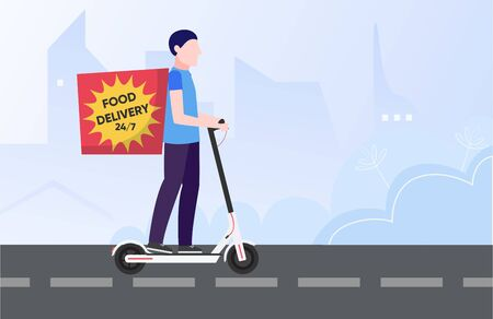 Food delivery concept. Minimal flat vector illustration of courier on electric kick scooter Illusztráció