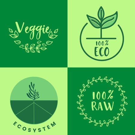 Raw product and eco oriented badges set. Vector illustration  Çizim