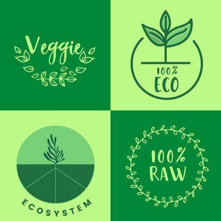 Raw product and eco oriented badges set. Vector illustration  Illusztráció