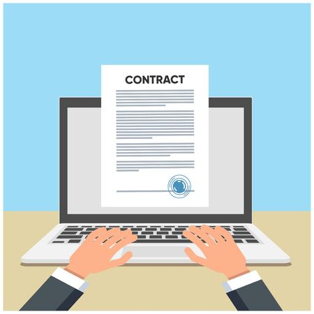 Online electronic smart contract document on laptop, paper document, signature on computer screen. vector illustration. Business concept  イラスト・ベクター素材