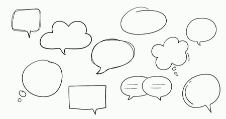 Hand drawn speech bubbles set isolated on white. Vector illustration