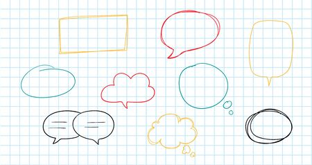 Hand drawn speech bubbles collection isolated on white. Vector illustration