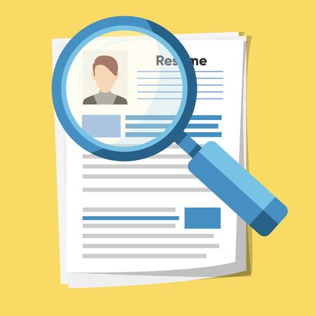 Analyzing personnel resume. Recruitment, concept of human resources management. Flat design, vector illustration.  イラスト・ベクター素材