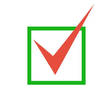 Red check mark icon. Tick symbol in green color, vector illustration.