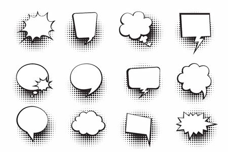 Retro empty comic bubbles and elements set with halftone shadows on white background. Vector illustration, vintage design, pop art style. Vector illustration