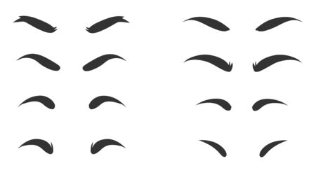 Eyebrows shapes Set. Various types of eyebrows. Makeup tips. Eyebrow shaping for women.Different thickness of brows.
