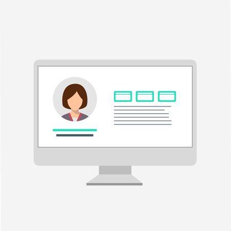 Social network website wireframe template. Flat vector illustration on white background