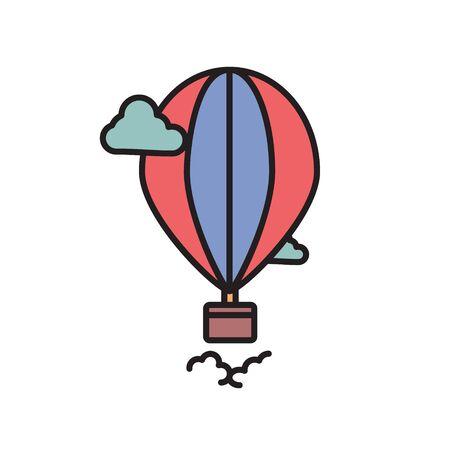 Air Balloon glyph icon isolated ob white. Vector Illustration