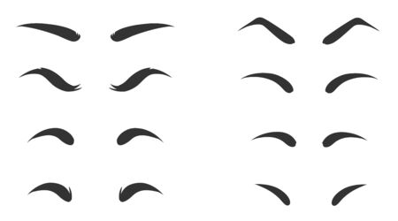 Set of Eyebrows shape. Eyebrow shapes. Various types of eyebrows. Makeup tips. Eyebrow shaping for women. Classic type and different thickness of brows. Illustration