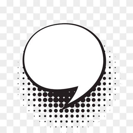 Comic empty speech bubble on halftone dots background in retro style. Ilustrace
