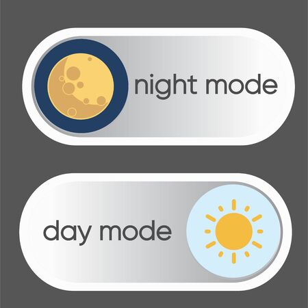 Concept of gadget interface switch to Day and Night mode and ui symbol. Day and Night Mode. Vector On Off Switch.