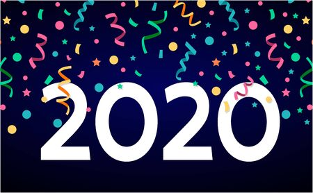 Happy 2020 new year confetti color banner on black background for your seasonal holiday flyers, Christmas themed congratulations and cards.