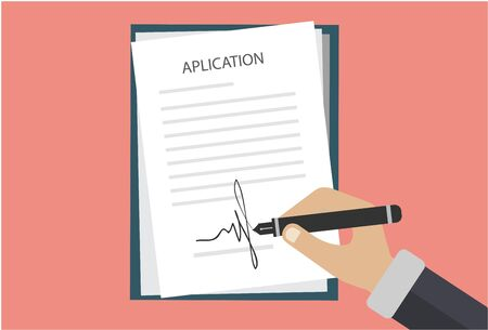 Colored Cartooned Hand Signing Contract. Graphic Design on White Background. Vector illustration  イラスト・ベクター素材