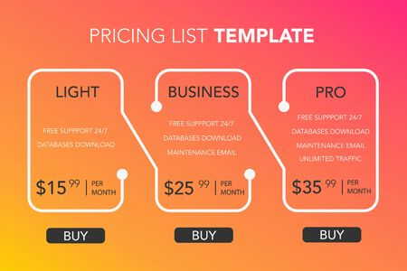 Subscription plans template with account features information or list of included options and price. Flat vector illustration for website, application.  イラスト・ベクター素材
