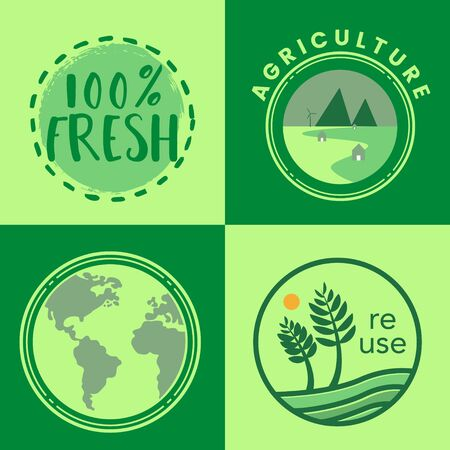 Re use and eco oriented badges set. Vector illustration   イラスト・ベクター素材