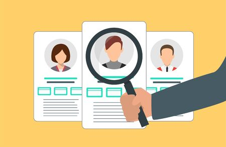 Searching profiles concept with different accounts and magnifying glass. Vector illustration