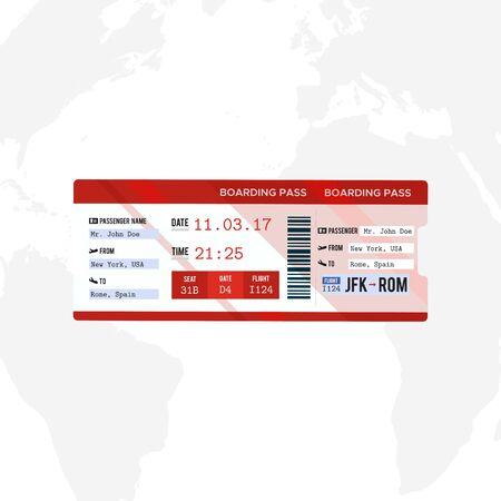 Airline boarding pass ticket on world map background. Concept template for travel, business trip or journey. Vector illustration