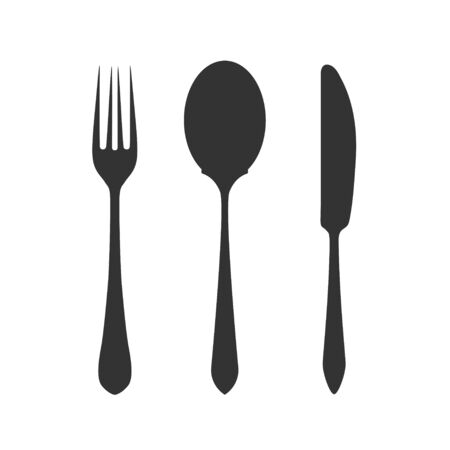 Knife, fork and spoon on white background. Vector illustration.