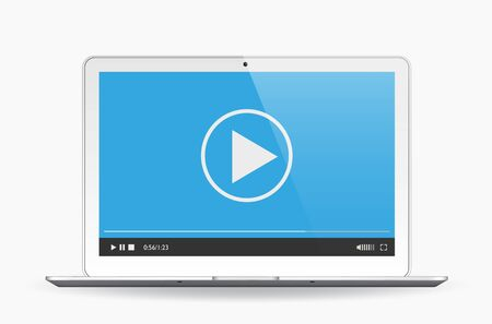 Media player on the laptop isolated on white. Vector illustration eps 10