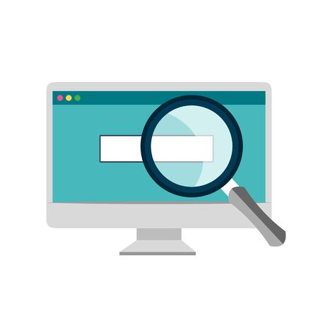 Search online in browser concept on the computer. Vector illustration eps 10