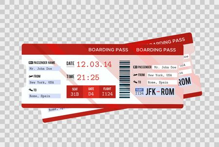 Traveling by plane. Airline boarding pass ticket tear-off element set, isolated on transparent background. Vector illustration.