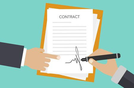 Contract signing. A male left hand holds a document, the right hand signs. Modern concept for web banners, web sites, infographics. Flat style. Vector.