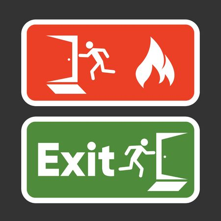 Exit fire signs set. Emergency Exit. Man figure running to doorway. Plate fire exit. Vector illustration
