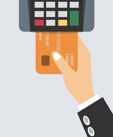 Hand holds credit card. Flat design of POS terminal. Payment by credit or debit card. Vector illustration. Isolated
