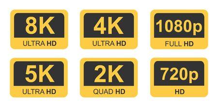 Golden 8K, 4K, 5k Ultra HD Video Resolution Icon Logo High Definition TV Game Screen monitor