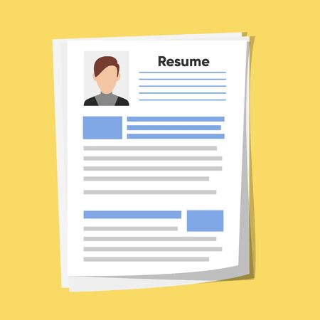 Resume template for web landing page, banner, presentation, social media. Analyzing personnel resume. Human resources management
